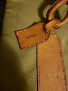 "VTG LAR HARTMANN LUGGAGE Khaki BALLISTIC NYLON 28"" SOFT Suitcase  Leather Trim"
