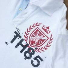 Tommy Hilfiger Men's Polo Shirt TH85 White Red Blue Rugby Top Large