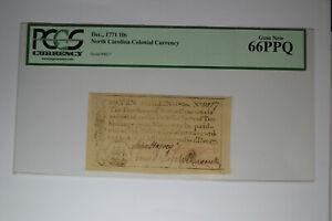 North Carolina December, 1771 10s PCGS Gem New 66PPQ.