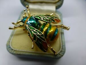 Bee brooch green gold enamel Vintage style bee insect pin in gift box