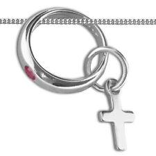 Mädchen Taufe Gold 333 roter Rubin Taufring mit Kreuz Anhänger und Kette 925 VG
