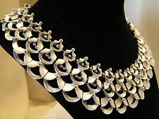 Very Cool Runway Couture Vintage Bib Collar Silver Tone Necklace Hallmarked RSK