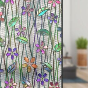 Flower Print Stained Glass Window Sticker Film Self Adhesive Privacy Home DecorA