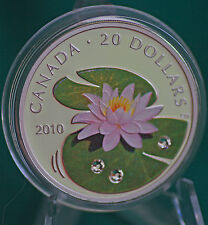 2010 Canada Water Lily with crystals $20 99.99% silver