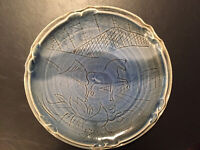 Vintage Studio Art Pottery Stoneware Blue Horse Platter Mid-Century RARE MINT