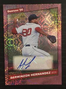 2020 Donruss Darwinzon Hernandez Auto Firework Parallel 17/199 Boston Red Sox