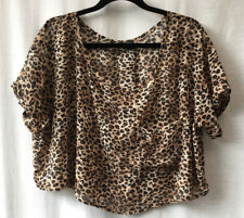 Size 12-14-16 Top Crop Chiffon Animal Print Casual Evening Club Party Holiday