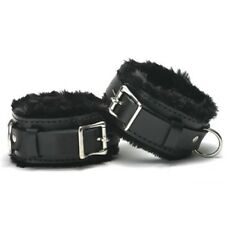 Lockable pv leather fur-lined WRIST CUFFS CU-02-BLA, FREE UK DELIVERY