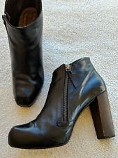 Coclico Black Leather Side Zip High Heel Booties Size 38.5 EU 8 or 8.5 US 395.00