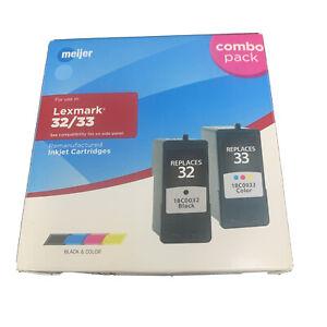 2PK For Lexmark 32 18C0032 Black & For Lexmark 33 18C0033 Color Ink