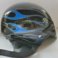 Bell  Motorcycle Helmet Blue Flame Shorty Motorcycle Helmet SX Black