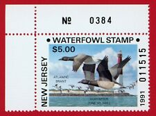 Clearance: (Nj08A) 1991 New Jersey Nonresident Waterfowl Stamp (plate # single)