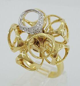 Italian Di Modolo 18K Gold Triadra Cluster Diamonds Cage Flexible Statement Ring