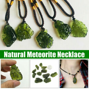 Natural Crystal Green Gem Moldavite Meteorite Glass Necklace Pendant Charm Stone