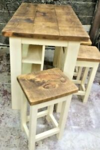 SOLID WOOD RUSTIC CHUNKY KITCHEN TABLE AND STOOL SET WITH IN BUILT STORAGE