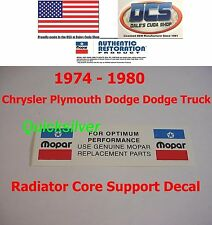 1974 - 1980 Dodge MOPAR REPLACEMENT PARTS Radiatior Core Support Decal NEW