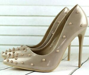 LADIES BEIGE COURT SHOES POINTED TOE STUDDED SPIKED HIGH HEELS SANDALS UK 3 / 36