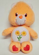 "Care Bear Friend Bear Plush Stuffed Animal Toy Orange With Flowers 8"" Cute!"