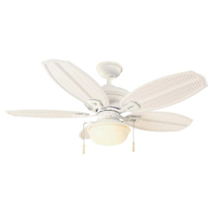 Palm Beach III 48 in. LED Indoor/Outdoor Matte White Ceiling Fan with Light Kit