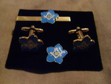 Forget me not Square + compass Cufflink / Tieslide/ lapel pin set, Masonic