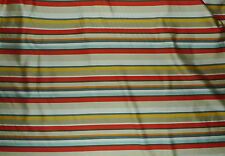 BRUNSCHWIG & FILS Horizontal Stripe Orange Blue Taupe Knit Backed 3 yards  New