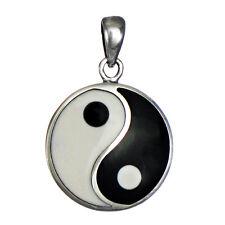 Sterling Silver Yin Yang Balance Symbol Pendant - Yoga Taoist Buddhist Jewelry