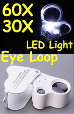 30X 60X LED Dual Lens EYE LOOP Pocket Microscope Magnifier Loupe Jeweler TATTOO