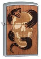 Zippo 49042,Woodchuck USA, Wood Emblem-Snake & Skull, Street Chrome Lighter