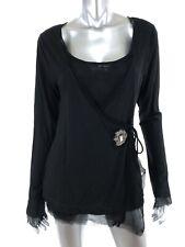 Kay Celine Sz Large Knit Top Shirt Black Faux Wrap Style Rhinestone Accent NEW