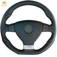 Black Leather Steering Wheel Cover for VW Golf 5 Mk5 GTI R32 Passat R GT #DZ62
