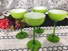 "Set of 4 Carlo Moretti Murano ""Green Cased"" Champagne Saucers / Goblets 6 3/4"""