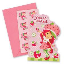 STRAWBERRY SHORTCAKE INVITATIONS (8) ~ Birthday Party Supplies Stationery Cards