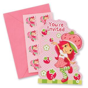 STRAWBERRY SHORTCAKE INVITATIONS (8) ~ Birthday Party Supplies Stationery Cards