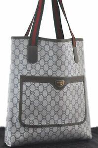 Authentic GUCCI GG Plus Web Sherry Line Shoulder Tote Bag PVC Leather Gray C2320