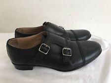 Lanvin Black Leather  Monk Strap Cap Toe Oxfords SZ 37 1/2 Italy
