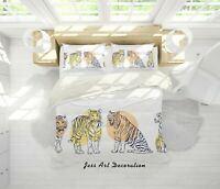3D Tiger Graphic White Quilt Cover Duvet Cover Comforter Cover Single 84
