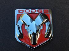 NEW DODGE RED & CHROME 3M EMBLEM HOOD OR TRUNK TAILGATE LOGO FENDERS BADGE