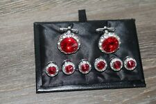 Red Crystal Cuff Links and 6  Studs Set for Mens Tuxedo Wedding Cufflinks Box