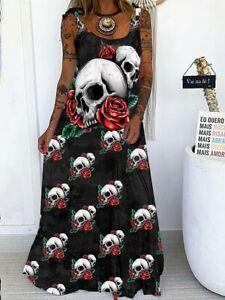 Women Summer Skull Casual Sleeveless Ladies Beach Long Dress Size 6-18 E5155