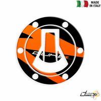 ADESIVO TAPPO BENZINA 3D NERO ARANCIO FOR KTM 690 DUKE R (F9703Q1) 2013-2017
