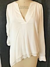 WHITE HOUSE BLACK MARKET - OFF WHITE DOUBLE LAYER HI LO TUNIC - 4- CASUAL/CAREER