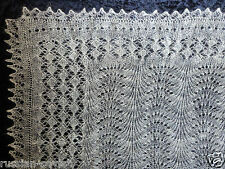 Genuine Russian Orenburg Hand knitted Wool Lace Shawl Scarf Snow Frost Design 11