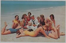 Pair c1950s Sailor ties knot surrounded by pretty gals @ beach postcards