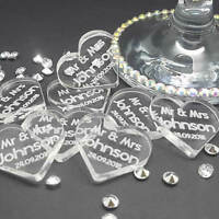Personalised Heart Mr & Mrs Acrylic Wedding Table Decorations - Scatter Favours