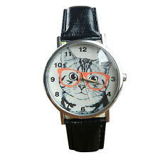 Woman's Leather Hipster Cat Pattern Leather Band Analog Quartz Wrist Watch Black