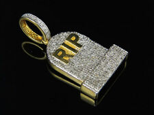Men's Yellow Gold Finish Real Diamond Tombstone RIP Charm Pendant .50ct