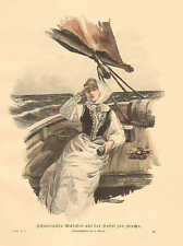 Swedish Girl On The Ride To Church, Sailing, Vintage 1894 German Antique Print