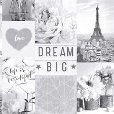 Arthouse - Life Is Beautiful Mono Paris Collage Luxury Glitter Wallpaper- 692100