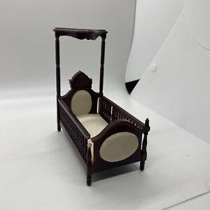 Dollhouse Crib Dark Wood Victorian Miniature Furniture with Cushion NEEDS REPAIR