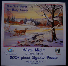 jigsaw puzzle easy grasp 500 pc Linda Picken White Night winter deer